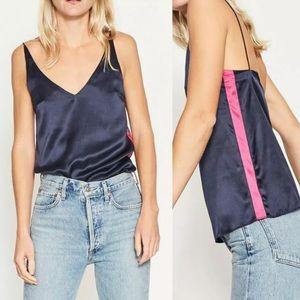 GINIA Silk V-Neck Sleeveless Contrast Stripe Cami